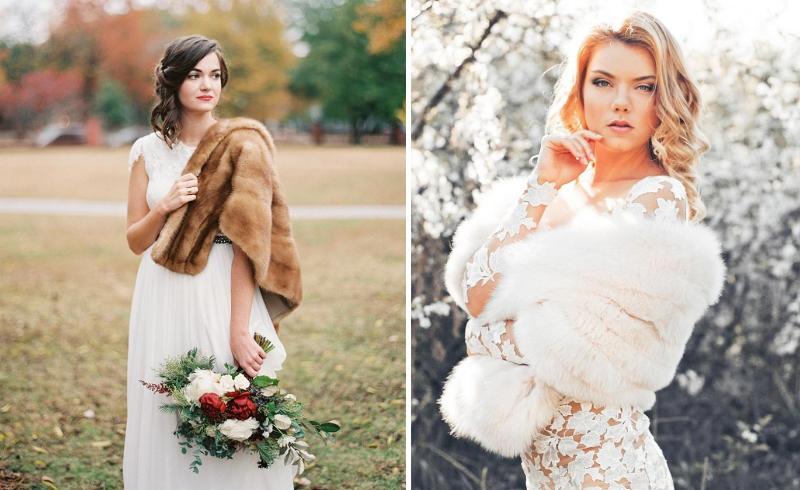 Невеста в меховой накидке